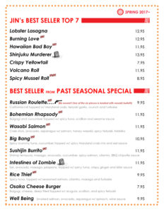 Sushi Jin Next Door Top 8 Menu