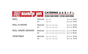 Sushi Jin Next Door catering menu